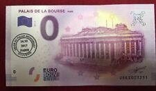 1 BILLET 0 EURO SOUVENIR PALAIS DE LA  BOURSE DE PARIS 2017 OBILTERE 1er JOUR