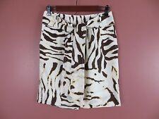 SK07649- BANANA REPUBLIC Woman 100% Linen Belted Skirt Pockets Geo print Sz 2