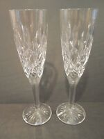 "Pair of Stuart Cut Crystal TEWKESBURY Champagne Glasses Toasting Flutes 8-1/4"""