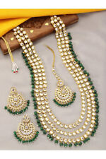 Kundan Polki Bollywood Indian Jewelry Bridal Long Haram Necklace Set Green Tikka