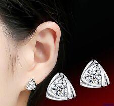 024 Damen Ohrringe Ohrstecker 925 Sterling Silber Pl Dreieckige Zirkon Kristall