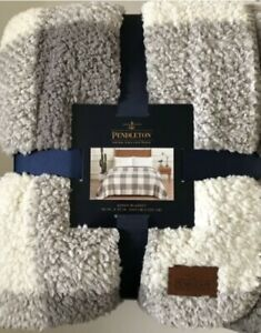 Pendleton Sherpa Fleece Blanket QUEEN  Sz Rob Roy Gray