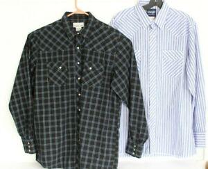 Wranger Men XLT XL Tall Lot of 2 Long Sleeve Pearl Snap Shirt Blue Black Western