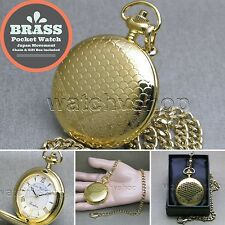 "Gold Antique Pocket Watch Brass Case Men Size Gift + 14"" Fob Link Chain P267"