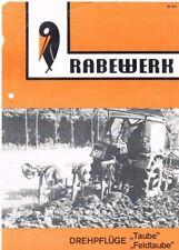 Rabewerk Drehpflüge Taube / Feldtaube, orig. Prospekt 1974