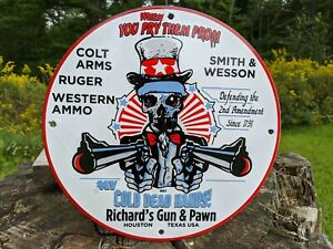VINTAGE 1957 COLT ARMS PORCELAIN SIGN! RUGER, SMITH & WESSON, NICE SIGN AMMO