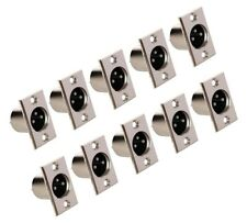 NEW 10 pack XLR male plug 3-pin 3C microphone jack cable panel mount connectors