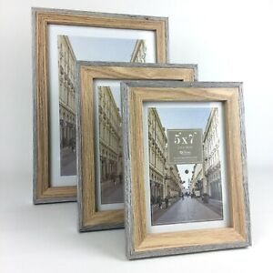 Photo Picture Frame A4, 8x10, 6x8, 7x5  Wall Desk Mountable Grey Natural 2 Tone