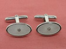 Sterling Silver Nicole Barr White Oval with Diamond Cuff Links (Sale Jewelry)