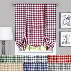 Buffalo Check Plaid Gingham Tie Up Window Curtain Shades - Assorted Colors