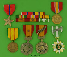 MARINE CORPS VIETNAM 6 MEDALS - MOUNTED 8 RIBBON BAR - USMC