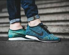 MENS 10.5 WOMENS 12 NIKE FLYKNIT RACER RUNNING SHOES BLUE CREW GLOW 862713 405