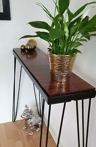 Handmade Reclaimed Parquet Wood Side/Console Table With Hairpin Legs