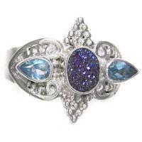 Offerings Sajen 925 Sterling Silver Caribbean Druzy & BlueTopaz Silver Ring