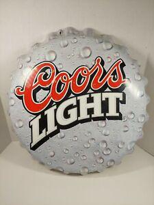 """HUGE Coors Light Bottle Cap Sign Large 18"""" VTG 1998 Beer Lager Tin Metal Silver"""