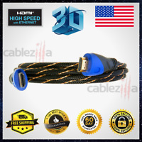 Premium HDMI Cable High Speed Hdtv 1080P 3ft 6ft 10ft 25ft 30ft 40ft 50ft Lot