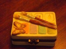 """New Listing1999 Marjolein Bastin Small Hinged Trinket Painters Box 1.75""""L x 1.25""""W x .75""""T"""