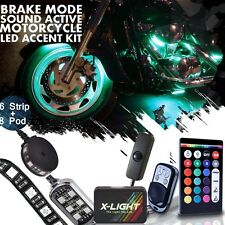 Motorcycle LED Light Kit Strips Pod Accent Glow Neon Light w Switch Brake Mode