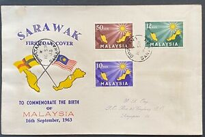 Malaysia 1963 Inauguration Private FDC Printed and for used in Sarawak