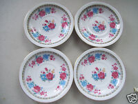 """Lot 4 Chinese Japanese Oriental 4 1/2"""" Mini Collector Rose Porcelain Plates"""
