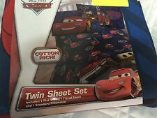 Disney Collection Pixar Cars Twin Set Sheets Blue And Red With Pillowcase