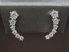 925 Sterling Silver Round White Diamond Stones Climber Ear Stud Earrings