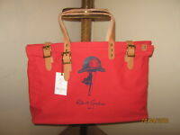 """ROBERT GRAHAM TOTE Bag Unisex (1) RED Leather Detailing """"NWT""""  20""""x 14""""x 7""""s"""