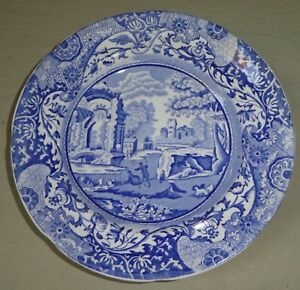 VINTAGE SPODE ENGLAND ITALIAN LANDSCAPE Blue Transferware Round Butter Dish