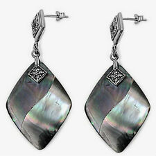 Marcasite Dangle Earrings Sterling Silver 925 Jewelry Gift Shell Mother of Pearl