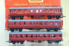 TRIANG HORNBY R320 R321 R322 RAKE of 3 BR MAROON MAINLINE COACH from 1960 MIB qa