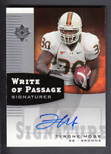 Tyrone Moss 2007 Ultimate Collection Write of Passage Auto Card