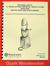 ROCKWELL/Delta 14 Inch Wood & Metal Band Saw Manual 0625