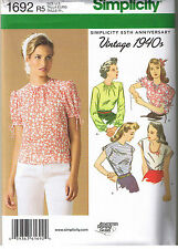 Vtg 40s Retro Tops High Scoop Neck Simplicity Sewing Pattern Plus 14 16 18 20 22