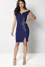 6acd3629 Little Mistress Bardot Embellished Dress Blue Size UK 16 Dh082 II 11