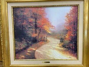 Autumn Lane - Thomas Kinkade Lithograph (Hand Worked on by Kinkade Himself)