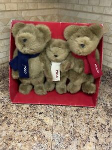 Polo Ralph Lauren The Bears that Care Plush Teddy Bear in Scraves Box Set 2001