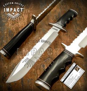 IMPACT CUTLERY RARE CUSTOM D2 BOWIE KNIFE BULL HORN HANDLE