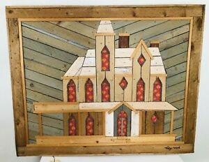 """THEODORE DEGROOT - Lath  Rustic Wood Southern Home / Signed Large 31""""x24.5"""" Art"""