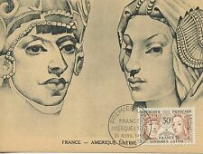 CARTE POSTALE MAXIMUM FRANCE AMERIQUE LATINE PARIS 1956