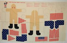 New listing Vtg Patriotic Christmas Liberty Santa Claus Doll Fabric Panel American Flag