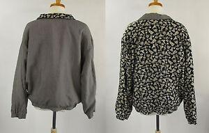 Head Apparel Black Beige Gray Ladies Reversible Golf Jacket Vtg 80s Sz L Large