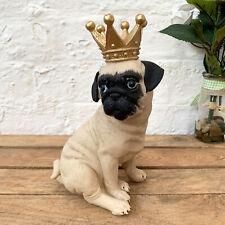 Vintage Cream Pug Dog King Crown Animal Resin Sculpture Figure Ornament Gift Art