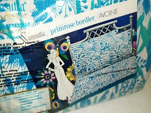 Vintage Wamsutta Double Fitted Blue Turquoise Floral Sheet NEW NOS Mod Ultracale