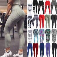 Women Yoga Pants Fitness Leggings Running Gym Stretch Sports High Waist TrouserM