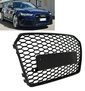 AUDI A6 C7 4G FACELIFT 2015-2018 RS STYLE GLOSS BLACK HONEYCOMB BUMPER GRILLE