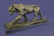 Real Bronze Hunting Lion Lioness Puma Panther Sculpture Statue Figurine Bugatti