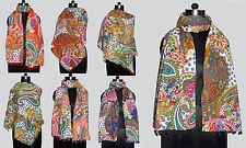10Pc Lot Cotton Womens Scarves Stole Shawl Paisley Wrap Cotton Pom Pom Scarf