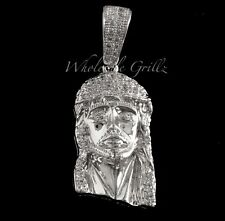 MICRO 14k White Gold gp Jesus Piece Mini Pendant Simulate Diamond iced out Charm