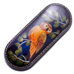 "Russian Eyeglasses Case, Owl Bird Pattern, Handmade, 3x6"""