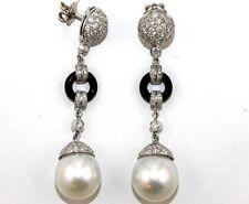 White Australian South Sea Pearl Diamond Drop Earrings 18k White Gold
